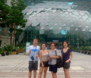 "Posing with the lovely family ""Kim"" in front of Seoul town hall"
